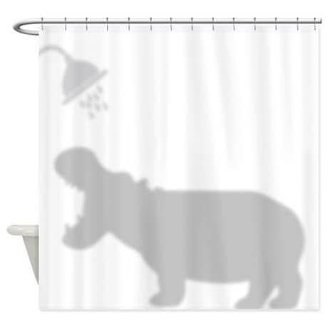 Hippo Bathing Silhouette Curtain for the Shower