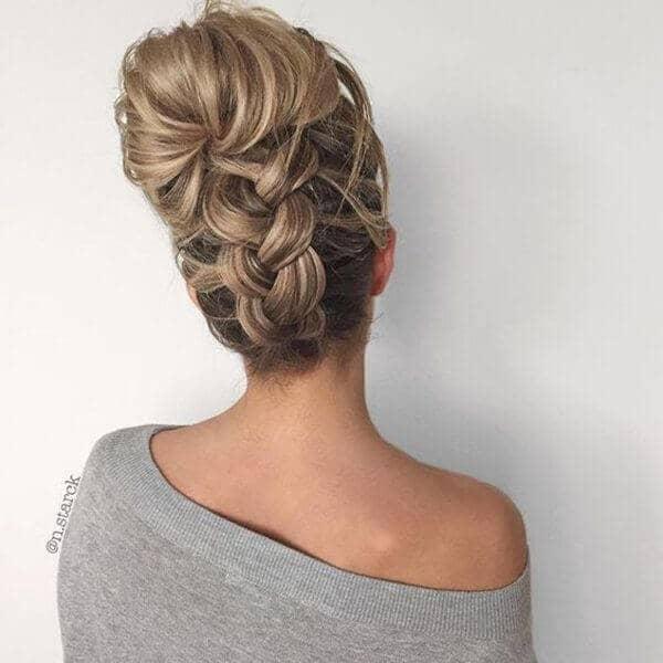Upswept Hair and a Back Braid