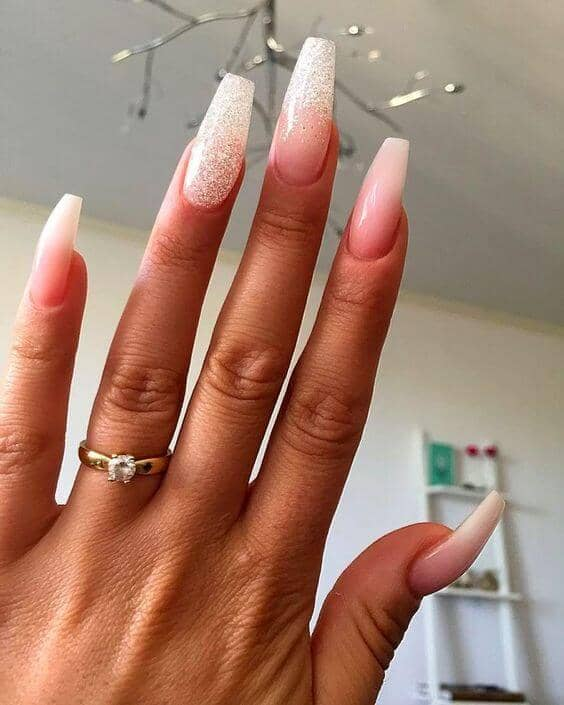 Extra Long Minimal Nails with A Sparkle Accent