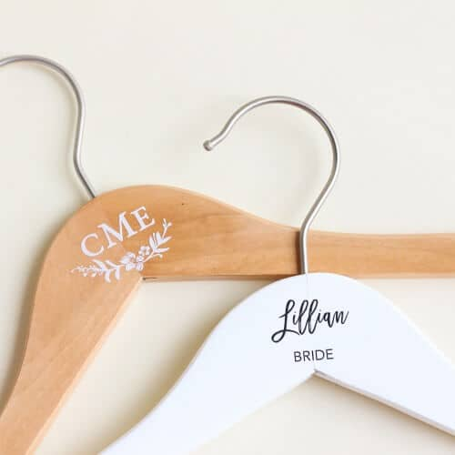 Natural or White Wooden Wedding Hangers