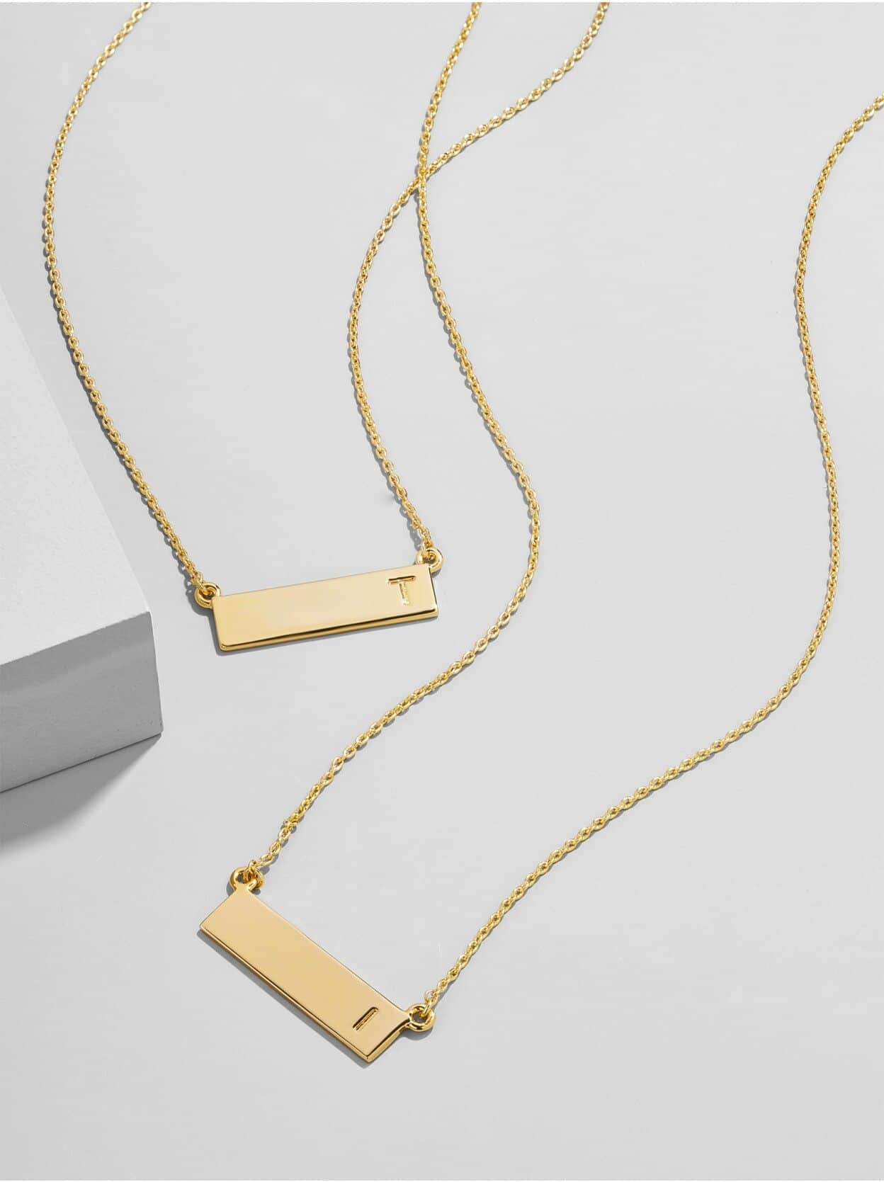 Solid Gold-Colored Bar Pendant