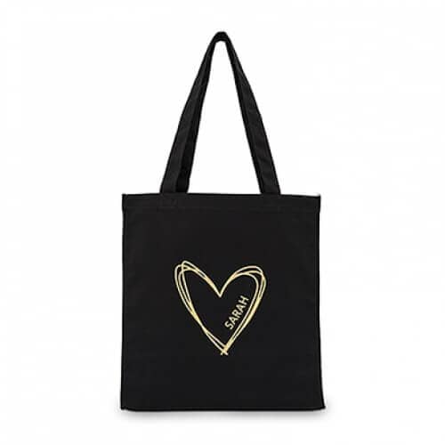 Black and Silver or Gold Customizable Tote Bag