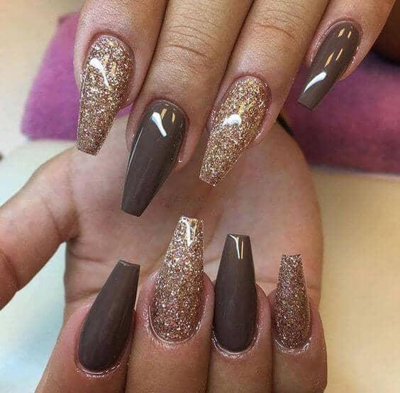 Barista Inspired Coffee Glitter Manicure