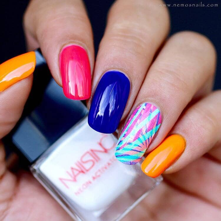 Candy Colored Nails with a Palm Design