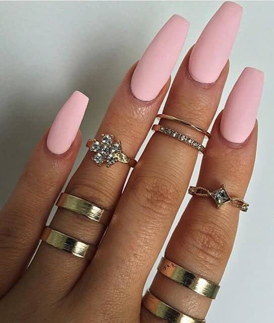 Matte Pink Cotton Candy Long Coffin Nails
