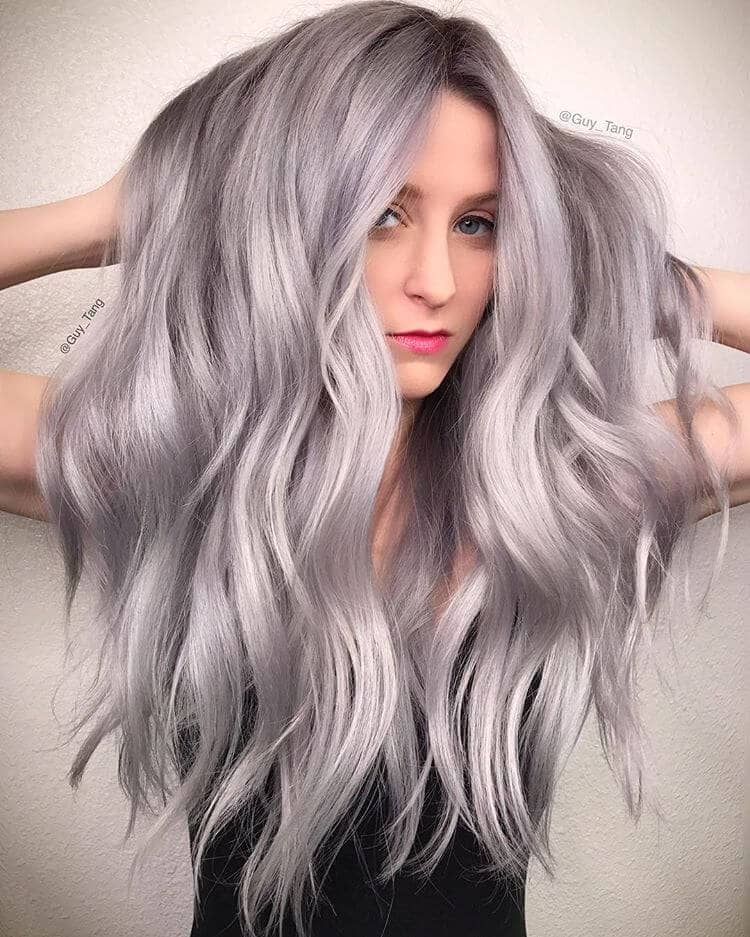 Long Silvery Blonde Ash Waves<