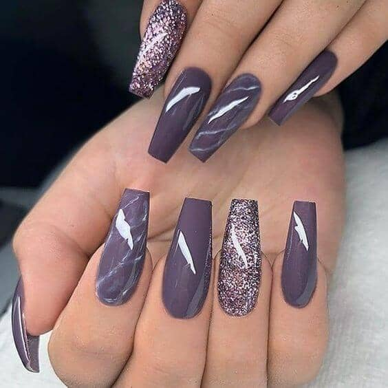 Prince Inspired Purple Glitter Nails