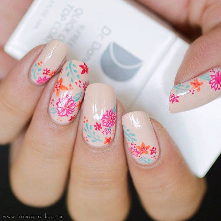 Hand Painted Nail Designs with Flowers