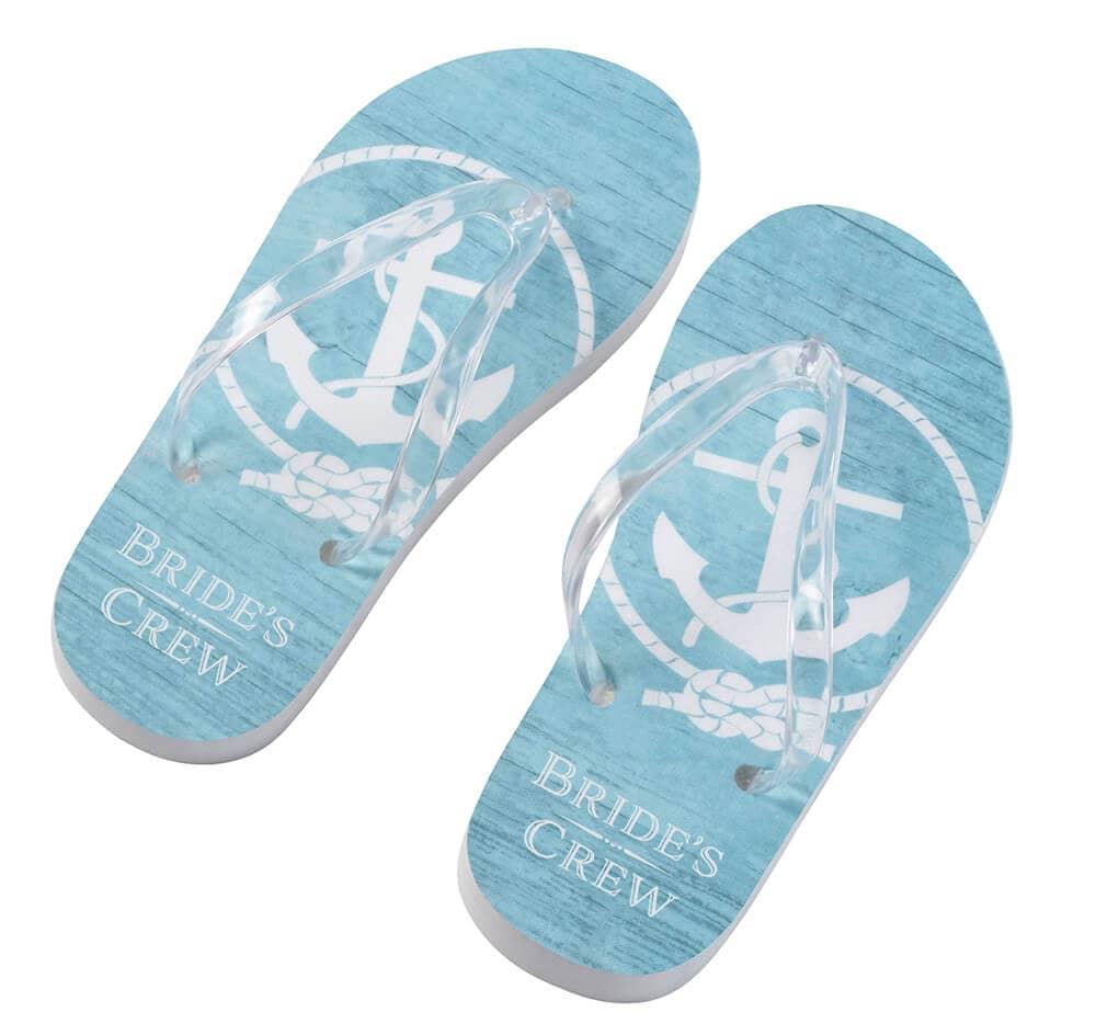Ocean Blue Bride's Crew Flip Flops