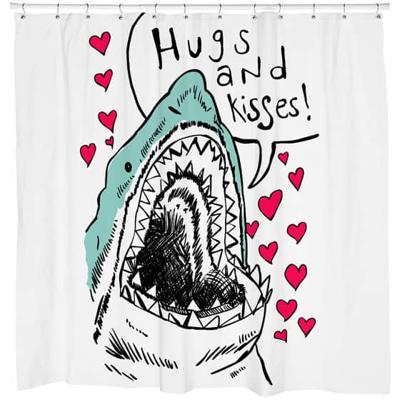 Rough Sketch Shark Shower Curtain with Hearts and Color