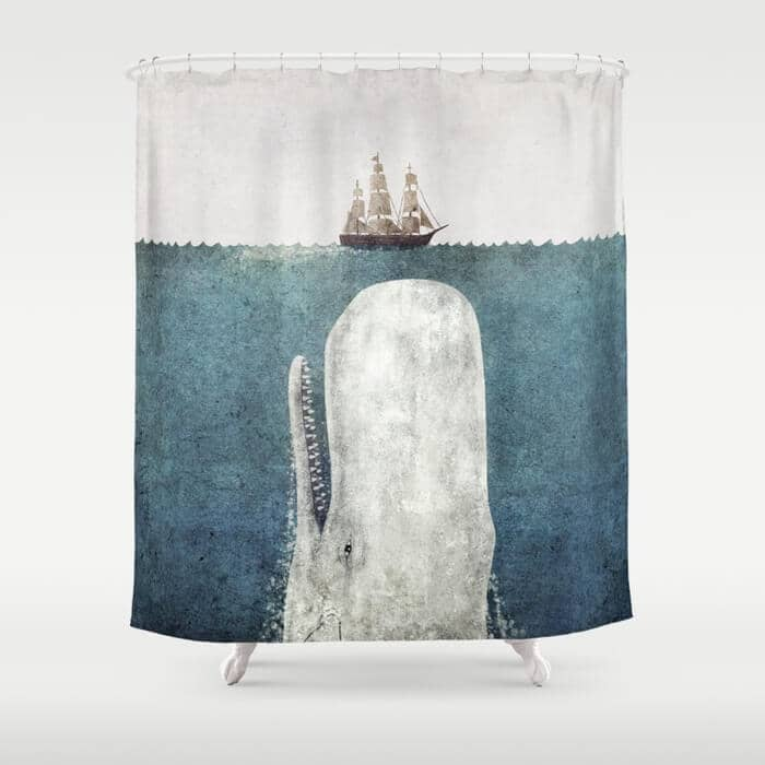 Large Whale and Ship Shower Curtain Painting