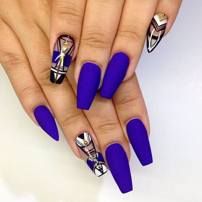 Space Age Rebel Royal Blue Nail Art Designs