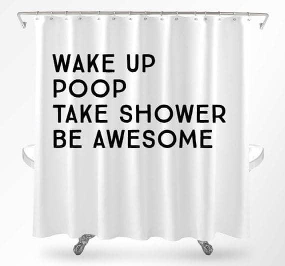 Hilarious Quote Minimal Shower Curtain Design