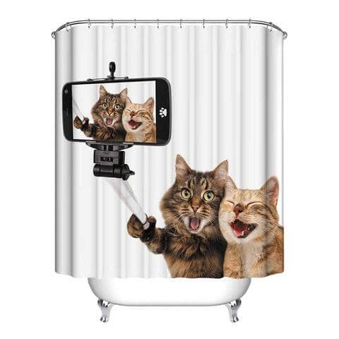 Hilarious Cat Selfie Curtain for the Shower