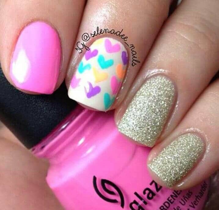 Easy Hearts and Glitter Nail Art Designs