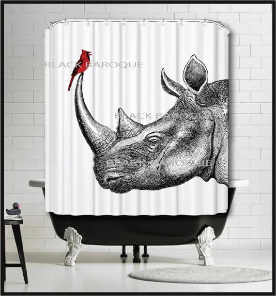 Detailed Line Drawing Rhino and Cardinal Curtain for the Bathroom