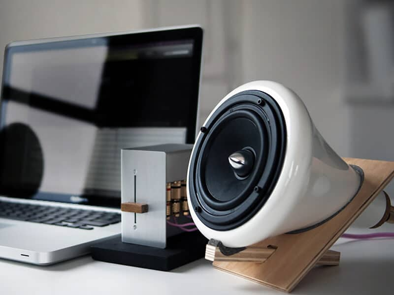 Joey Roth's Gramophone Shaped Ceramic Speakers