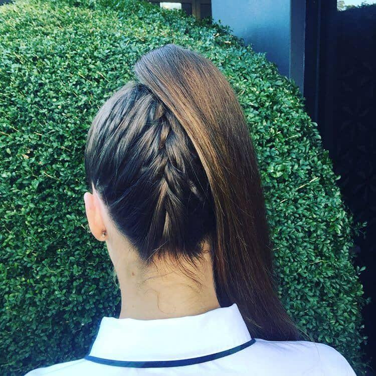 Sleek Hair Brushed Upward and Braided