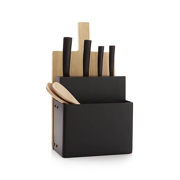 Metro Black Knife Block and Cutting Board Set
