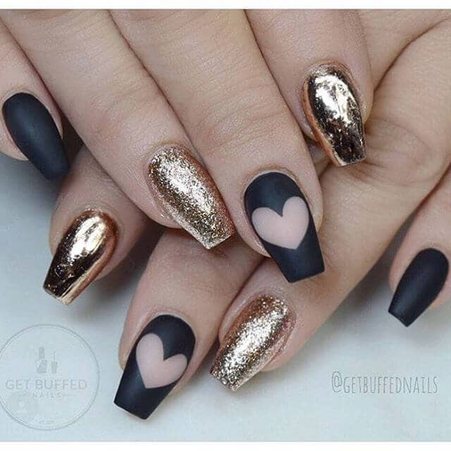 Black Matte Hearts and Golden Glitter