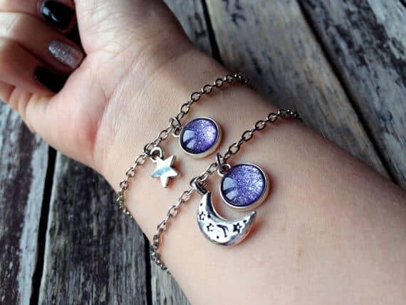 Gorgeous Moon and Star Best Friend Bracelets