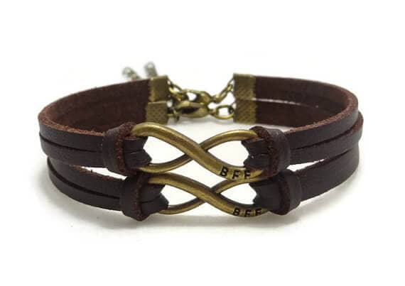 Cute Brow Leather Matching Best Friend Bracelet