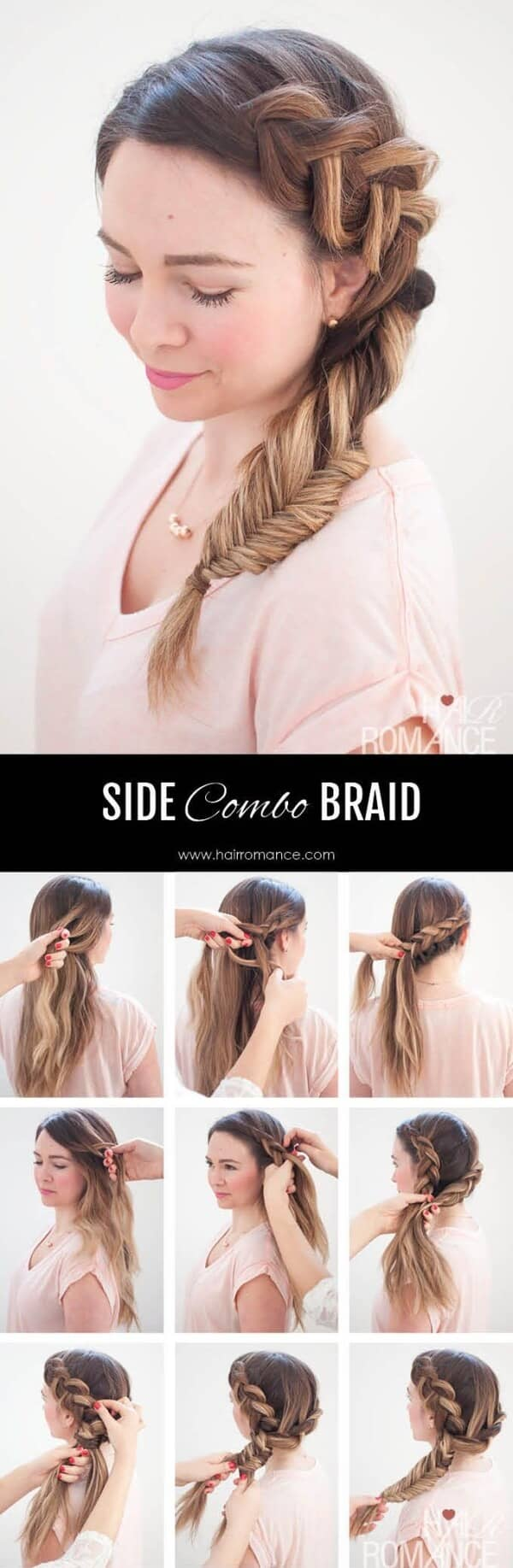 Side Dutch Braid Combined with Fishtail