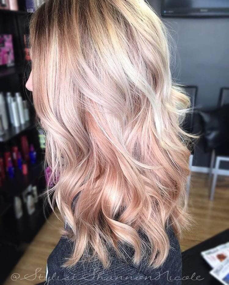 Layered Blonde and Warm Rose Gold Balayage