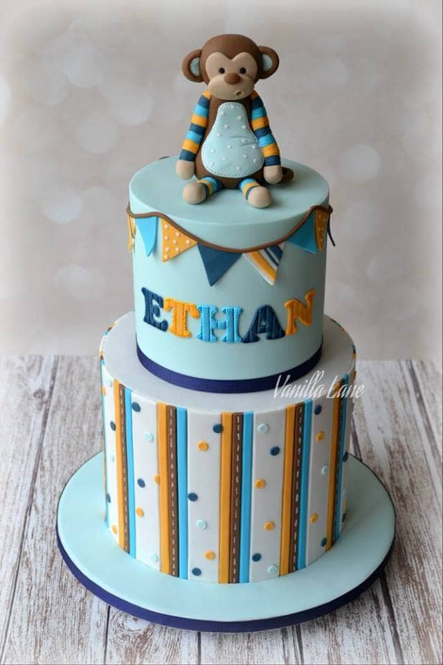 Baby Boy Blue Two-Tiered Shower Cake