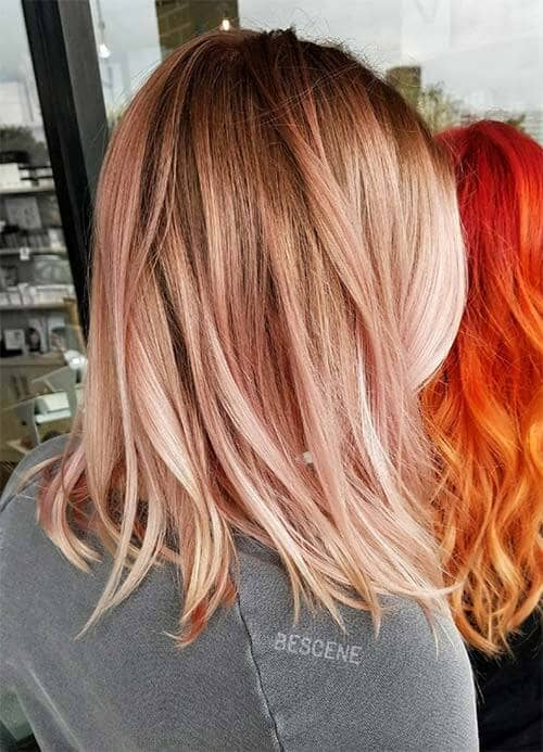 Subtle, Sweet Rosegold Hair Highlights with Blonde