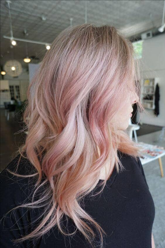 Bright, Beautiful Rose Gold Blonde Hair Highlights