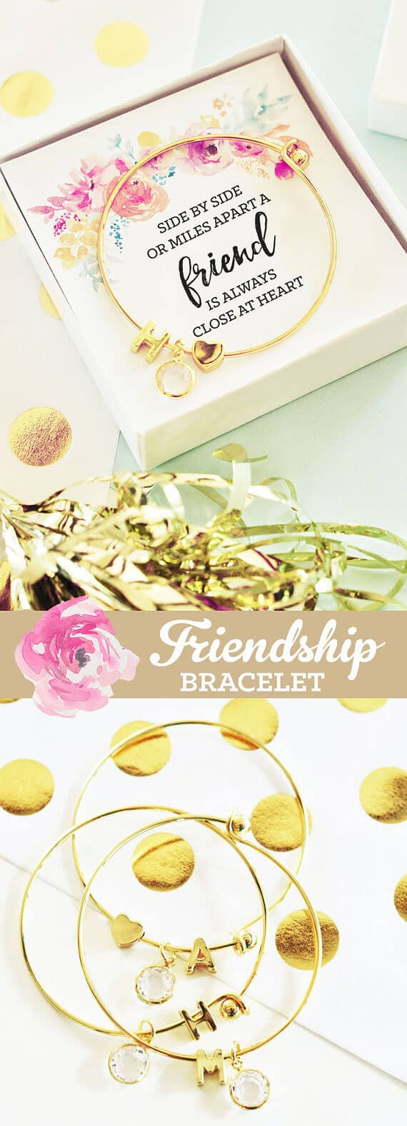 Classy Gold Monogram Best Friend Bracelet