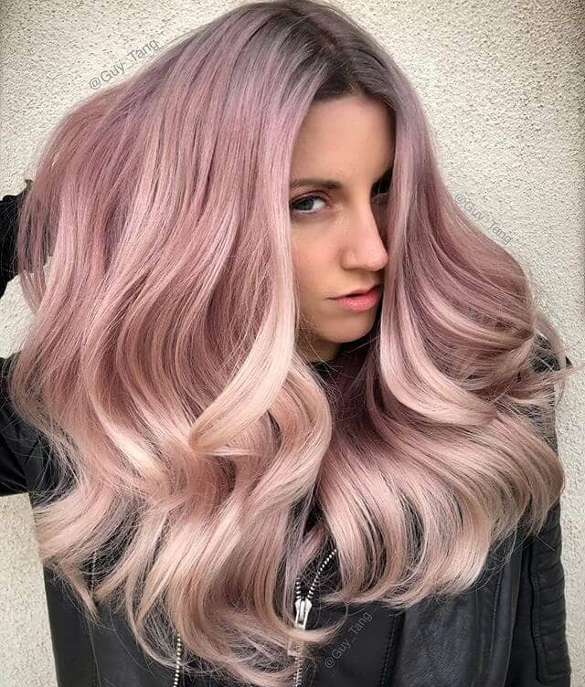 Daring Gray and Rose Gold Ombre Hair