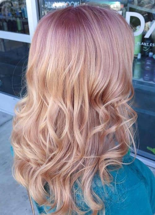 Cute Blonde Style With Rose Gold Roots