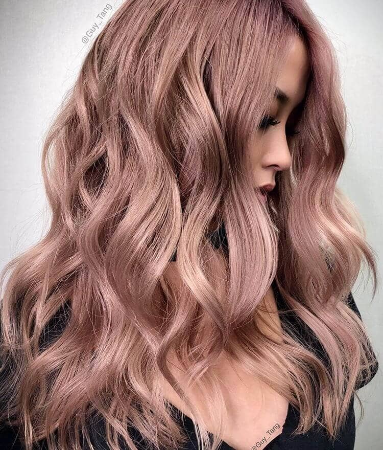 Silvery Dark Rose Gold Hair in Waves