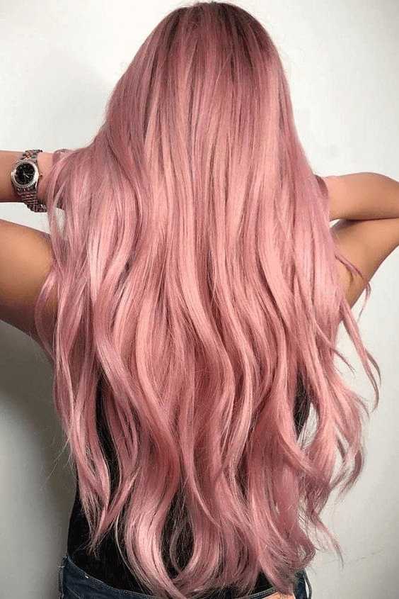 Bright and Saturated Rose Gold Long Layers