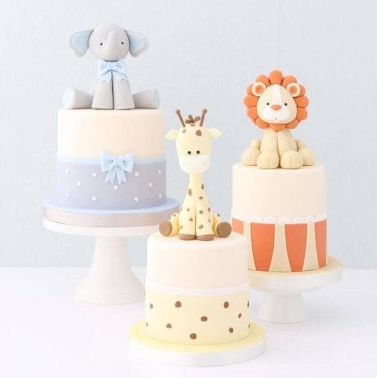 ungle Animal Trio Baby Shower Cake
