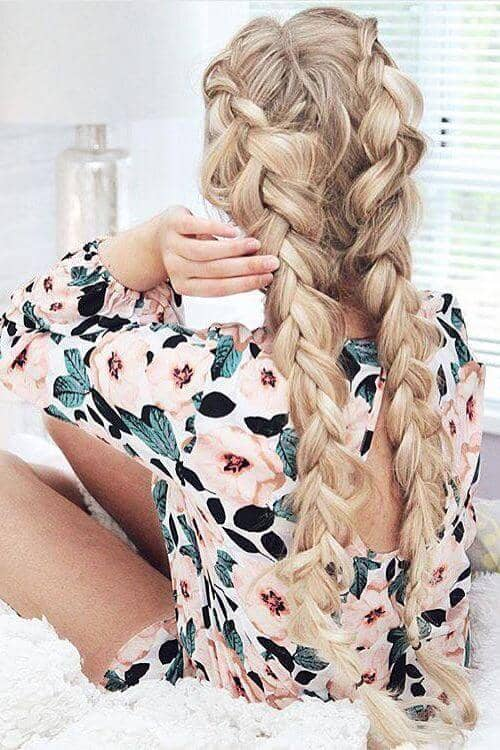 Wide and Messy Braids in Back