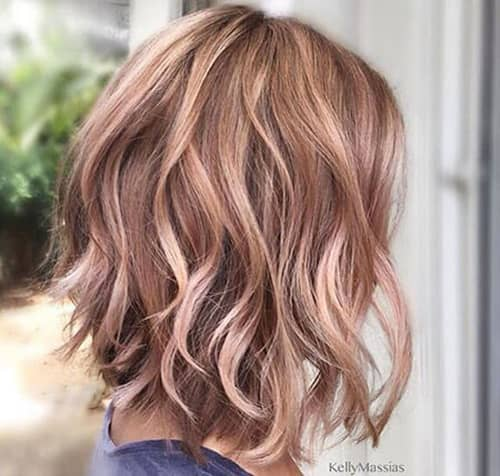 Pink and Blonde Highlights in Beachy Waves