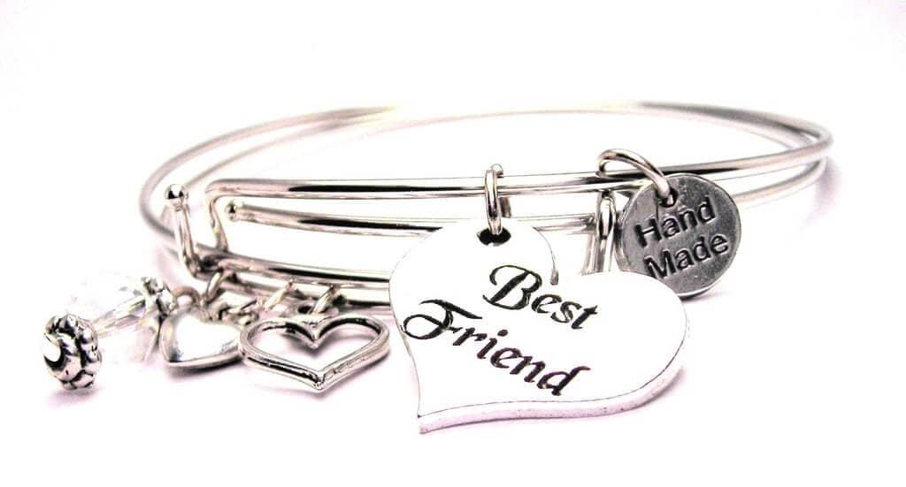 Feminine Heart Expandable Bangle Friendship Bracelet