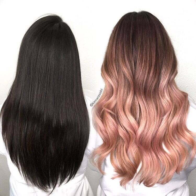 Brunette to Rose Gold Blonde Hair Transformation