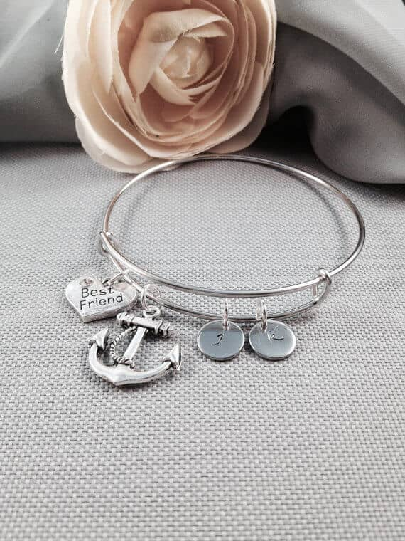 Silver Anchor and Heart Charm Bangle Bracelet