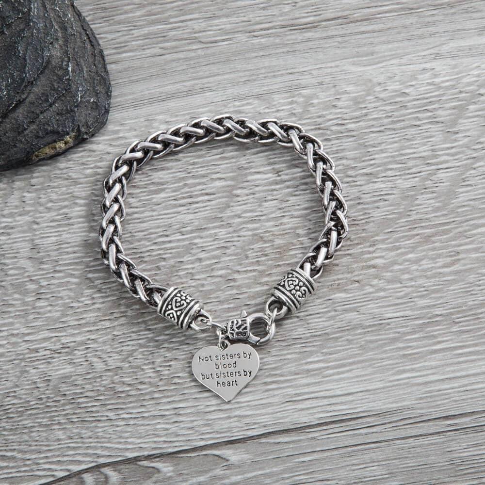 Cheap Girly Engraved Heart Bracelet for Friends
