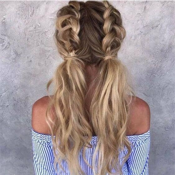 Long and Loose Dutch Braided Low Pigtails