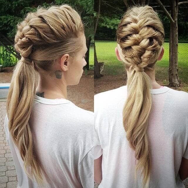 French Braid Floats Above Sleek Pony Tail