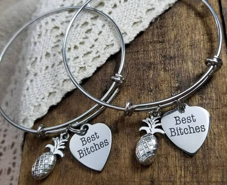 Funny Pineapple and Heart Charm Bracelet