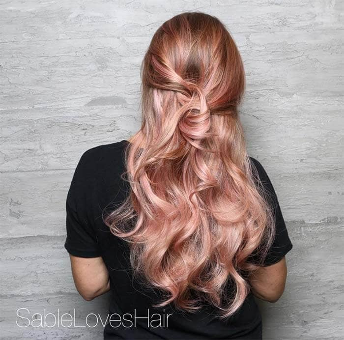 Curly, Cute Easy Hairstyles With Rose Streaks