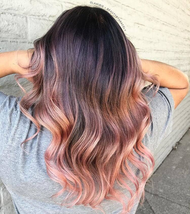 Brunette With Rose Gold Ombre Curled Tips