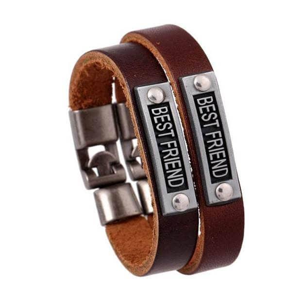 Leather Friend or Lover Vintage Bracelet