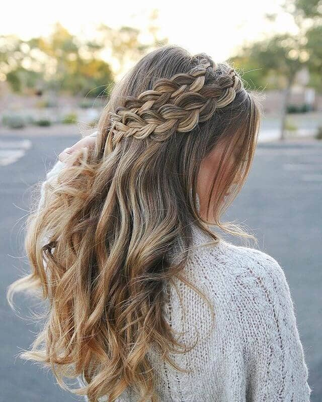 Two Braids Angling Across for Loose Style